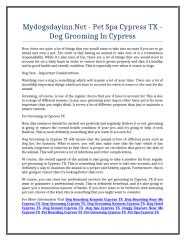 Mydogsdayinn.Net - Pet Spa Cypress TX - Dog Grooming In Cypress.doc