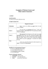 Examples of Thirteen Genres and.doc