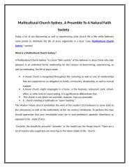 Multicultural Church Sydney, A Preamble To A Natural Faith Society.doc