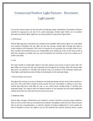 Commercial Outdoor Light Fixtures - Decorative Light panels .doc