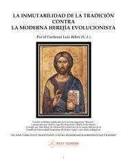 La Inmutabilidad de La Tradicion Contra La Moderna Herejia Evolucionista - Cardenal Luis Billot.pdf